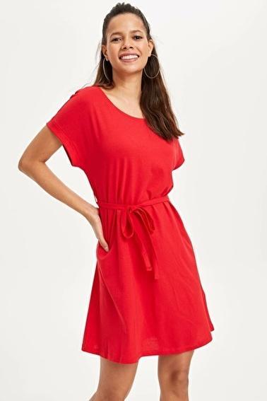 DeFacto Beli Büzgülü Slim Fit Elbise Kırmızı